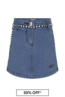 Girls Blue Cotton Denim Stretch Skirt