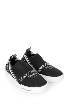 Boys Black Canvas Logo Slip-On Trainers