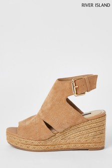 River Island Cream Covered Wedges