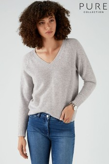 Pure Collection Grey Cashmere Lofty V-Neck Sweatshirt