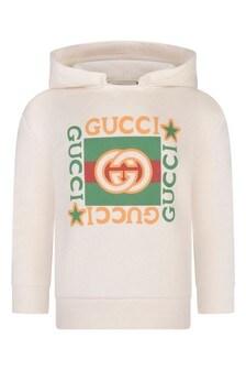 Baby White Cotton Hooded Sweatshirt