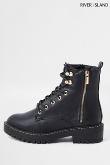 River Island Black PU Lace-Up Chunky Boots