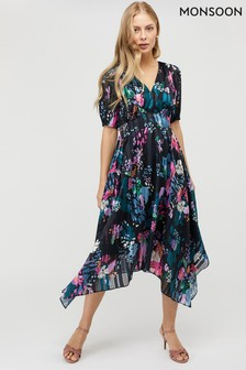Monsoon Blue Penny Print Hanky Hem Dress