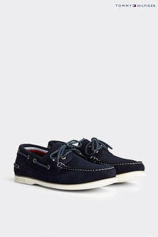 Tommy Hilfiger Blue Classic Suede Boat Shoes