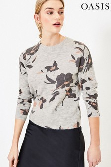 Oasis Natural Floral Print Jumper