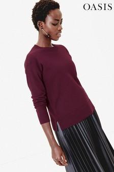 סוודר עם צווארון מעוגל דגם Bernadette בצבע סגול של Oasis