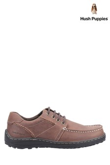 Hush Puppies Brown Theo Lace-Up Moccasins