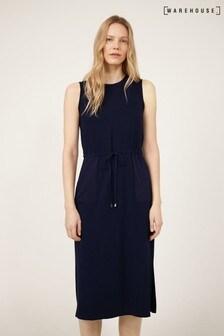 Warehouse Blue Utility Drawstring Midi Dress
