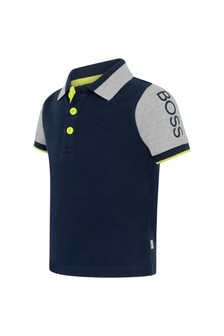 Baby Boys Navy And Grey Polo Top