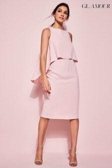 Gl/Amour Pink Blush Overlay Shift Dress
