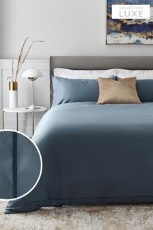Shadow Blue 300 Thread Count 100% Cotton Sateen Collection Luxe Duvet Cover And Pillowcase Set