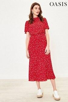 Oasis Red Ditsy Heart Midi Dress