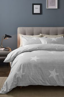 Grey 100% Brushed Cotton Striped Star Duvet Cover and Pillowcase Set