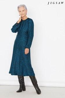 Jigsaw Blue Cheetah Spot Ruched Midi Dress