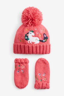 Appliqué Unicorn Beanie And Mitts Set (Younger)