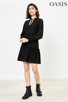 Oasis Black Broderie Drop Waist Dress