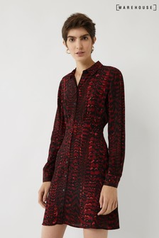 Warehouse Red Feather Shirt Dress