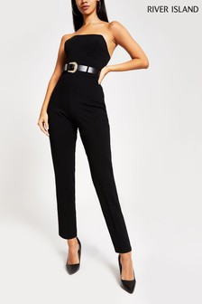 River Island Black Go Winnie Western Scuba Jumpsuit
