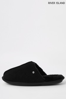 River Island Black Mule Slippers