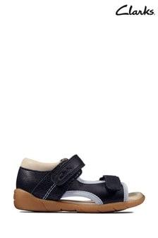 Clarks Navy Leather Zora Spirit T Sandals