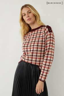 Warehouse Purple Button Shoulder Check Jumper