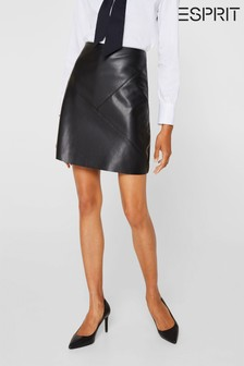 Esprit Black Leather Imitation Skirt