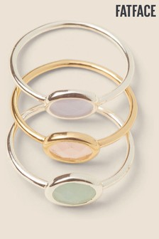 FatFace Silver Tone Stone Stacking Rings