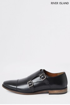 River Island Black Roger Monk Strap Shoes