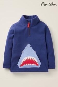 Boden Navy Half-Zip Appliqué Sweatshirt