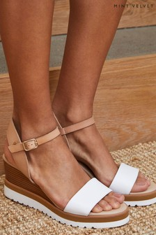 Mint Velvet White Remy Sport Wedge Sandals