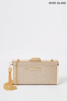 River Island Gold 2907 Glitter Cliptop Box Clutch Bag