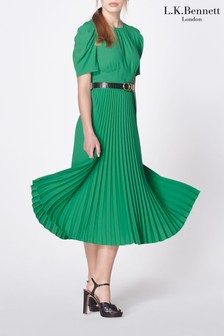 L.K.Bennett Green Avalon Pleated Dress