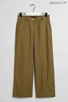 GANT Green High Waisted Summer Linen Trousers