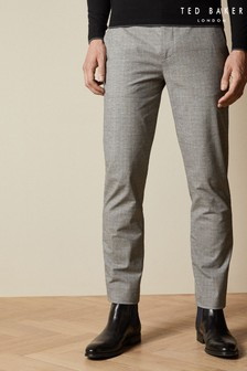 Ted Baker Grey Sappy Checked Cotton Trousers