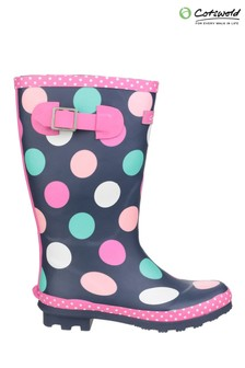 Cotswold Black Dotty Jnr Pull On Wellington Boots