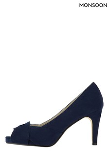 Monsoon Navy Carrie Court Peep Toe Shoes