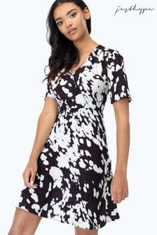 Hype. White Abstract Cow Print Tea Dress