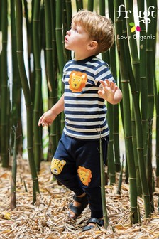 Frugi Organic Cotton Navy Cats Kneepatch Joggers