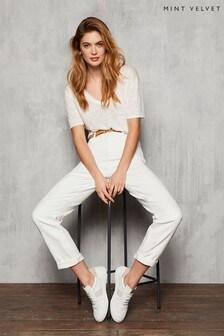 Mint Velvet Dakota White Boyfriend Jeans