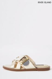 River Island Cream 1318 Hardware Flat Sandals