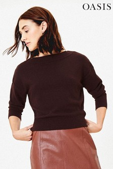 Oasis Brown Christy Knit Jumper