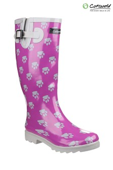 Cotswold Purple Dog Paw Wellington Boots