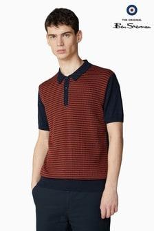 Ben Sherman Navy Knitted Geo Crew Poloshirt