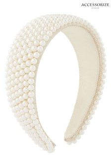 Accessorize Grey Pearl Bridal Padded Aliceband