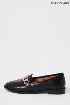 River Island Black Stud Rand Loafers