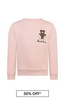 Girls Pink Cotton Bear Sweater
