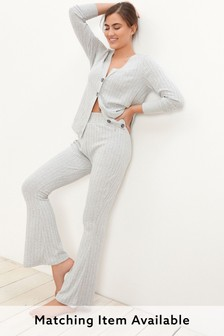 Soft Knitted Rib Kickflare Trousers