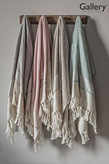 Gallery Direct Recycled Chevron Fringed Throw
