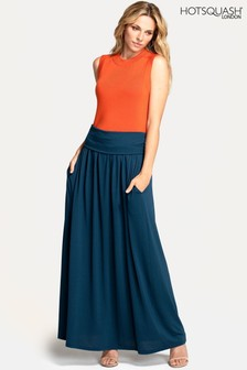 HotSquash Teal Roll Top Maxi Skirt