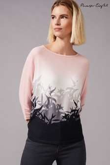 Phase Eight Pink Bally Bamboo Ombre Print Knit